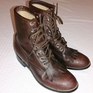 Justin Junior Leather Lace Up Boots